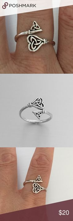 Sterling Silver Triquetra Key Ring Sterling Silver Triquetra Key Ring, Pinky Ring, Index Ring, Thumb Ring, 925 Sterling Silver, Face Height 14 mm (0.55 inch) Jewelry Rings