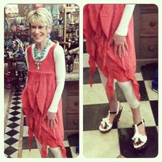 Miss Cheryl looking TOO CUTE in this coral ruffle dress and our Black and White Studded Wedges!!! The perfect spring look!!