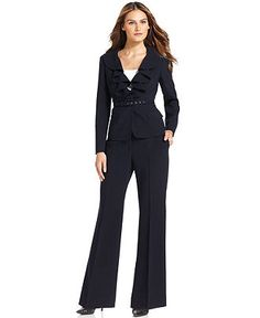 Anne Klein Petite Suit, Cascade-Collar Belted Jacket & Trousers - Womens AK Anne Klein Petites - Macy's