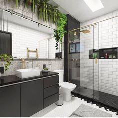 Banheiro em preto e branco 👏🏻💡✨ Por: @studiomeiserarquitetura Dream Bathrooms, Beautiful Bathrooms, Family Bathroom, Small Bathroom, Vertical Garden Design, Bathroom Design Inspiration, Bathroom Goals, Shower Remodel, Modern House Design
