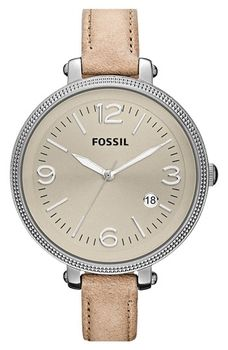 Fossil Round Leather Strap Watch Sand One Size