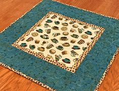 """Coffee Themed Table Topper in Teal Brown and Tan, Coffee Decor, Coffee Lover Gift, Teal Brown Table Topper, 20.5"""" X 20.5"""""""