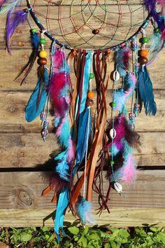 Großen Regenbogen Tie Dye Geist Traumfänger  Ein Traumfänger ist ein Heiliger Kreis oder den Kreislauf des Lebens. Gewebte auf den Reifen sind