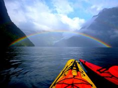 A double rainbow, in Milford Sound, New Zealand, while Kayaking, on your honeymoon, with the love of your life.....PERFECT! Discovered by HoneyTrek at Milford Sound, New Zealand