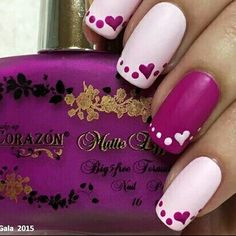 Easy Valentines Nails by Yagala - Nail Art Gallery nailartgallery. by Nails. Cute Nail Art, Easy Nail Art, Cute Nails, Pretty Nails, Do It Yourself Nails, Valentine Nail Art, Valentine Nail Designs, Heart Nails, Cute Nail Designs