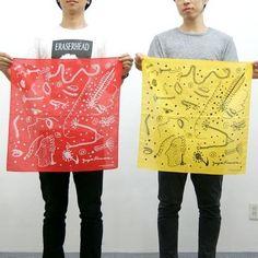 New! Yayoi Kusama Bandana Red & Yellow Set Japan Artist F/S #Asian