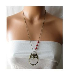 owl necklace, woodland jewelry, owl pendant, long necklace  owl jewelry necklace, red ladybug jewelry