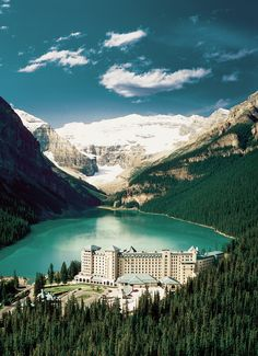 Inside, alpine-style interiors are paired with oversize windows that reveal one of the most picturesque views of Lake Louise and the Canadian Rockies.From $232/night;fairmont.com  via @AOL_Lifestyle Read 2015/12/17/the-views-from-these-10-hotels-will-blow-you-away/21279889/?a_dgi=aolshare_pinterest#fullscreen