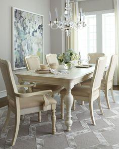 """<ul> <li>Handcrafted dining table.</li> <li>Made of acacia wood and engineered hardwood.</li> <li>Hand-painted finish.</li> <li>66""""L x 42""""W x 30""""T; extends to 84""""L with 18""""W leaf (included).</li> <li>Imported.</li> </ul>"""
