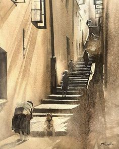 "1,503 mentions J'aime, 35 commentaires - Rafal Rudko (@rafalrudko) sur Instagram: """"Brzozowa street"" Watercolor 30x22cm Most italian part of Warsaw :-) #watercolour #watercolor…"""