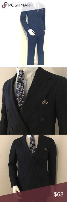 """Ralph Lauren Polo University Club Vintage Suit EUC Double Breasted Dark Blue Pinstripe Suit. Polo University Club suits were available from '81-'85 when department stores were selling more available lines of Ralph Lauren clothing for men. These suits are EXTREMELY well constructed and have some distinct features such as larger lapels. Definitely not a Suit to go unnoticed!  Be bold!  Measurements:  armpit to armpit 21"""". Sleeve 24"""". Waist 17"""" across (fits like a 32""""). Inseam 30"""".  (Polo Tie…"""