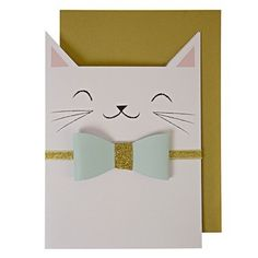 Smiling Cat Card - This charming card will have you smiling like a Cheshire Cat! We love everything about it - the mint and gold glitter color combination and the cuteness of the paper bow-tie! Card size: 5 x 7 inches . Dog Cards, Kids Cards, Arte Punch, Tarjetas Diy, Punch Art Cards, Karten Diy, Shaped Cards, Animal Cards, Creative Cards