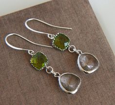 Silver Earrings  Silver Framed Clear Crystal by lilabelledesign
