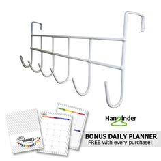 awesome Hanginder White Over the Door 6 Hook Organizer Rack - Hang Anything From Hats, Scarves, Towels, Light Jackets, Necklaces and More. A Great Storage Addition to the Laundry Room, Bathroom or Closet - Fits All Standard Doors