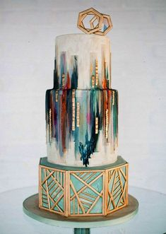 17 Wedding Cakes That Will Make You Forget All Other Cakes: geometric gold wedding cake.
