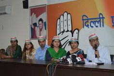 "DPCC president Ajay Maken along with newly appointed ""shadow department"" members at a press conference in New Delhi on Wednesday.   DPCC forms 10-member 'shadow department', young faces made in-charges."
