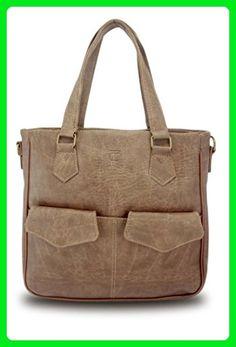 Vintage Leather Women Travel Cross Body Shoulder Tote Bag Vida (Latte) - Shoulder bags (*Amazon Partner-Link)