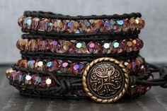 READY TO SHIP crystal wrap bracelet- rose pink crystal on black leather on Etsy, $55.00