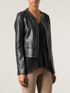 Roberto Cavalli Lace Up Leather Jacket - - Farfetch.com