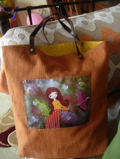 Gone with the Wind   light brown Art Bag of thick  by eltsamp, $58.00