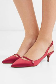 Heel measures approximately 2 inches Claret satin Buckle-fastening slingback strap Made in Italy Pump Shoes, Shoe Boots, Shoes Heels, Pumps, Ankle Sneakers, Leather Sneakers, Pretty Shoes, Beautiful Shoes, Zapatos Shoes