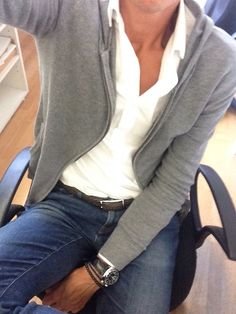 gray hoodie. white oxford. jeans. brown woven belt. watch. bracelets. casual. Friday. simple. southern. versatile. style.
