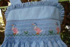 Tamaño 1 mano Smocked vestido Jemima Puddle-Duck por Sarai0989