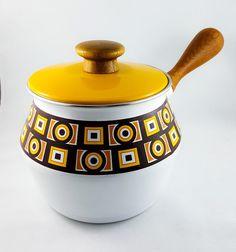 Vintage Mid Century Enamel Fondue Pot by shopwhatadish on Etsy