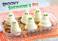 Spooky Shepherd's Pie from The Girl Who Ate Everything ---- you can make these with your kids for Halloween FUN (and get some real food into their bellies!)