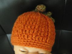 Handmade crochet PUMPKIN hat for Can be made in larger sizes Style 2 by on Etsy Crochet Pumpkin Hat, Baby Items For Sale, Larger, Trending Outfits, Unique Jewelry, Handmade Gifts, Hats, How To Make, Vintage