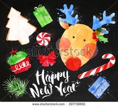 Christmas signs lettering Happy New Year with deer, cookie, cake, gift, sweets, candy, ribbon, fir branch drawing in vintage style on blackboard