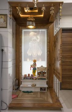 Here are some latest pooja room designs form different parts of India. You can pick some great ideas and create a soulful interior for your pooja room. Temple Room, Home Temple, Temple House, Room Interior, Home Interior Design, Interior Decorating, Temple Design For Home, Mandir Design, Altar