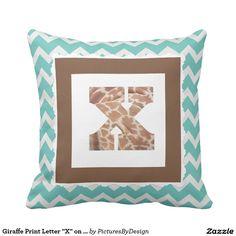 """Giraffe Print Letter """"X"""" on Mint/White Chevron Throw Pillows"""