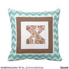 "Giraffe Print Letter ""X"" on Mint/White Chevron Throw Pillows"
