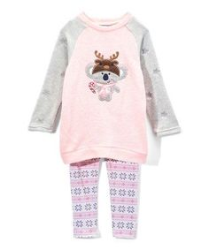 Loving this Pink Koala Sweater Dress & Tights - Infant, Toddler & Girls on #zulily! #zulilyfinds