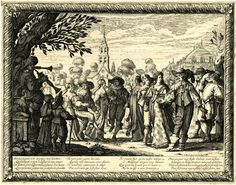 Plate 2: village dance, with musicians on the l, and a church in the background; ornate frame.  1633/58 Etching