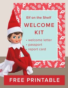 Download our free printable Elf on the Shelf Welcome Kit! Celebrate the holiday tradition with a fun and creative arrival letter/note, festive passport, and a naughty or nice official report. It's the perfect way to bring Christmas and the North Pole to your kids this winter season.