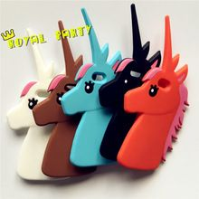 Unicorn Design Protective Silicone Shell Cover For iPhone 4 4S 5 5s 6 6splus Cute Cartoon White Horse Phone Cases