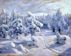 In Nordmarka after snowfall - Hennig, Otto Oil on canvas , 92 x 115 cm. Lund, Gouache, Oil On Canvas, Farmhouse Decor, Poster, Painting, Outdoor, Image, Beautiful