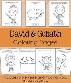 7-page set of David and Goliath Bible Coloring Pages