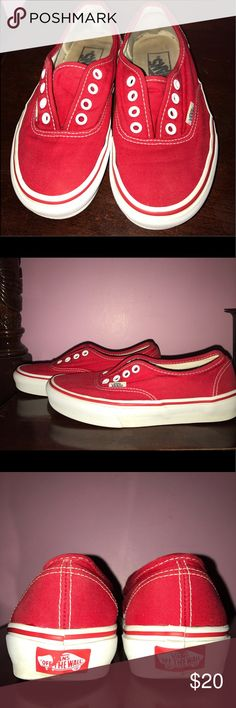 Red original vans Red vans!  Any scuffs, markings, or tears are shown in the pictures above. Comes with white shoe laces! Vans Shoes