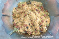 Add a Latin kick to your meals by adding this homemade Cuban seasoning. Its quick, easy and has a long shelf life. Homemade Spice Blends, Homemade Spices, Spice Mixes, Cuban Recipes, Spanish Recipes, Yummy Recipes, Sausage Spices, Seasoning Mixes, Sazon Seasoning
