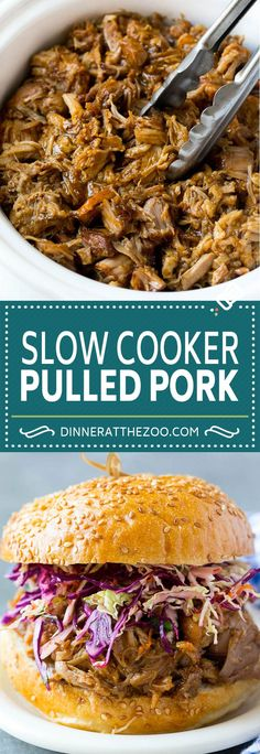 These slow cooker pulled pork sandwiches are meltingly tender and delicious, the perfect easy dinner option! Pulled Pork Recipe Slow Cooker, Pulled Pork Recipes, Slow Cooker Pork, Slow Cooker Recipes, Crockpot Recipes, Pork Sandwich, Sandwiches, Cookbook Recipes, Cooking Recipes