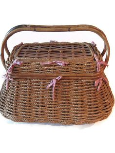 Vintage Picnic Basket Wicker Picnic BasketGerman by PhotosPast, $30.00