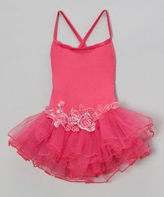 Hot Pink Sequin Rose Skirted Leotard - Infant, Toddler & Girls #zulily #zulilyfinds