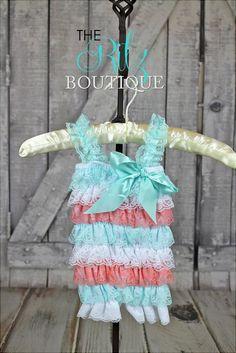 AQUA/ WHITE/ CORAL lace petti romper lace by TheRitzBoutique, $10.99