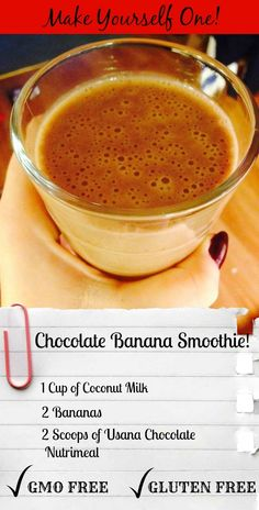 Every Morning is the Perfect time for a smoothie! Try this one out! It's delicious! Don't forget click to order your Usana Nutrimeal for $30.75 USD: https://healthisglobal.usana.com/   1 Cup Coconut Milk 2 Bananas 2 Scoops of Usana Chocolate Nutrimeal (Healthy Nutritious GMO Free Gluten Free!)  Read More about Breakfast Smoothies @ http://juliamarianica.com/2014/12/healthy-breakfast-smoothies/