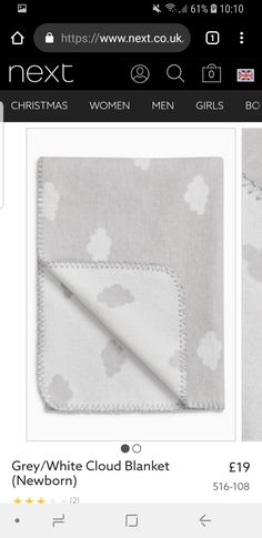 Such a cute theme for the nursery Cute Themes, Clouds Pattern, Grey And White, Nursery, Blanket, Baby, Day Care, Blankets, Baby Rooms
