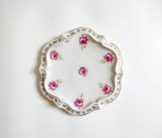 Antique Ceramic Tea Trivet Pot Holder Hot Plate CT Carl Tielsch Germany Made German Pink Roses Vintage Round Gold Trim C.T. Flowers Floral