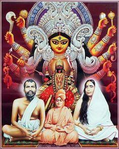 Durga, Kali with Ramakrishna Dev, Sarada Ma and Vivekananda - Hindu Posters (Reprint on Glazed Paper - Unframed) Maa Durga Photo, Durga Kali, Kali Hindu, Saraswati Goddess, Kali Mata, Kali Goddess, Durga Puja, Shiva Shakti, Hindu Art
